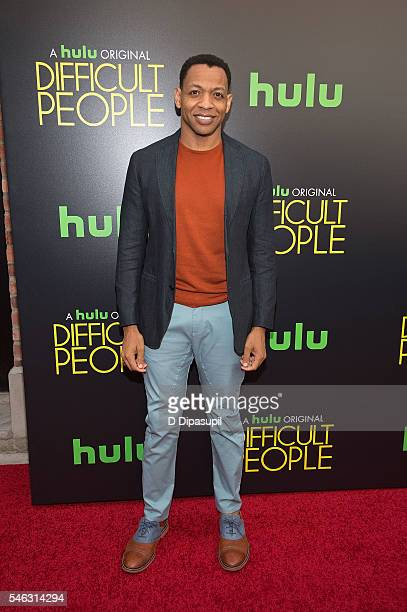 Derrick Baskin attends the 'Difficult People' New York premiere at The Metrograph on July 11 2016 in New York City