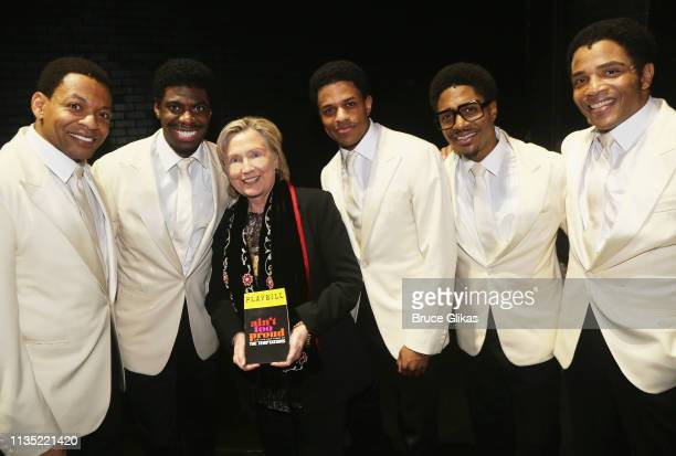 """Derrick Baskin, Jawan M. Jackson, Hillary Clinton, Jeremy Pope, Ephraim Sykes and James Harkness pose backstage at the hit musical """"Ain't Too Proud..."""
