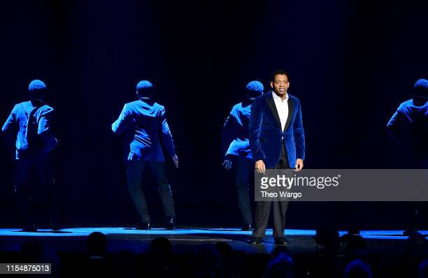 Derrick Baskin performs a song from Ain't Too Proud The Life and Times of the Temptations onstage during the 2019 Tony Awards at Radio City Music...