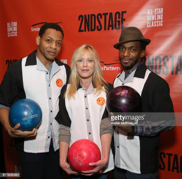 Derrick Baskin Sherie Rene Scott and Daniel J Watts attend the Second Stage Theatre 2018 Bowling Classic at Lucky Strike on February 12 2018 in New...