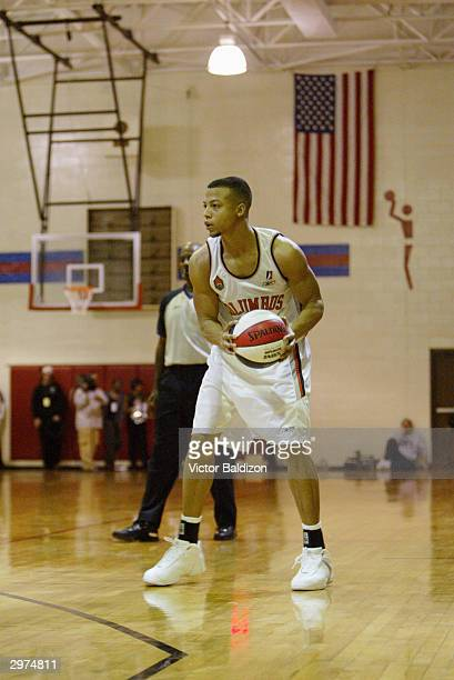 Derrick Bird of the Columbus Riverdragons looks to play the ball against the North Charleston Lowgators during the NBDL game on January 29 2004 at...