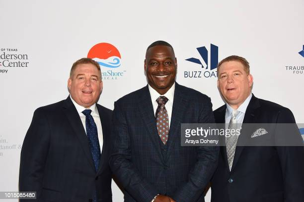 Derrick Brooks and the Pump brothers attend the 18th Annual Harold and Carole Pump Foundation Gala at The Beverly Hilton Hotel on August 10 2018 in...