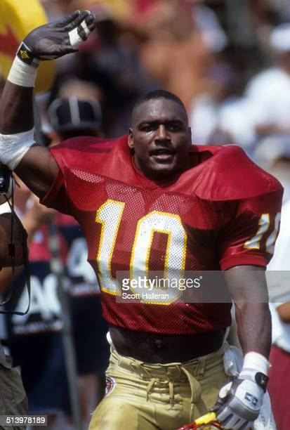Derrick Brooks of the Florida State Seminoles celebrates on the field during an NCAA game against the Clemson Tigers on September 11, 1993 at Doak...