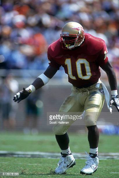Derrick Brooks of the Florida State Seminoles lines up during an NCAA game against the Clemson Tigers on September 11 1993 at Doak Campbell Stadium...