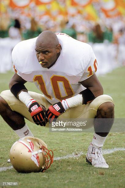 Derrick Brooks of the Florida State Seminoles looks on before game action in 1992.