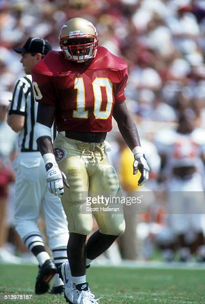 Derrick Brooks of the Florida State Seminoles walks on the field during an NCAA game against the Clemson Tigers on September 11, 1993 at Doak...