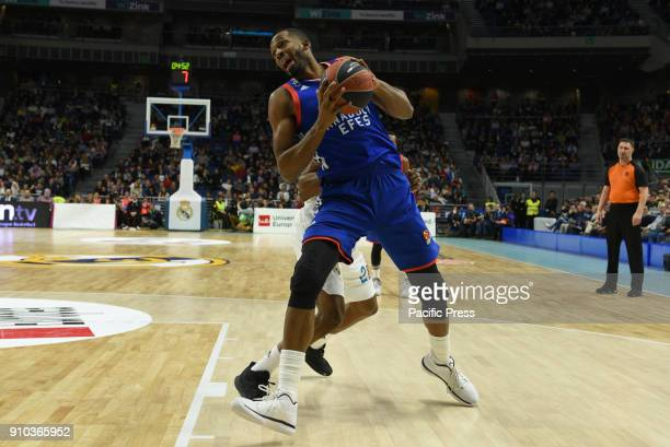 Derrick Brown #5 of Anadolu Efes in action during the 2017/2018 Turkish Airlines EuroLeague Regular Season Round 20 game between Real Madrid and...