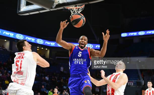 Derrick Brown #5 of Anadolu Efes Istanbul in action during the 2017/2018 Turkish Airlines EuroLeague Regular Season Round 17 game between Anadolu...