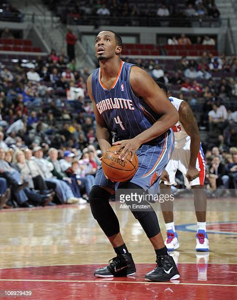 Derrick Brown of the Charlotte Bobcats shoots a free throw during a game against the Detroit Pistons on November 5 2010 at The Palace of Auburn Hills...