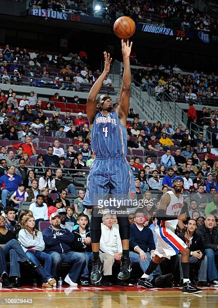 Derrick Brown of the Charlotte Bobcats walks on the court during a game against the Detroit Pistons on November 5 2010 at The Palace of Auburn Hills...