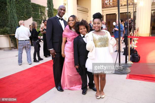 Derrick Chambers Tanika Inlaw Chambers and family arrive at the 2017 HAPAwards at Alex Theatre on November 18 2017 in Glendale California
