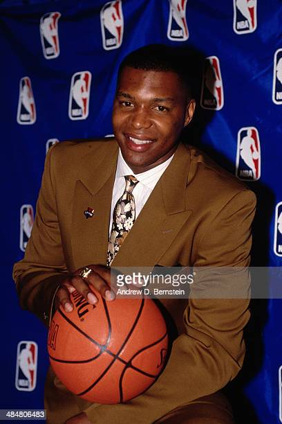 Derrick Coleman from Syracuse University is drafted number one overall pick by the New Jersey Nets on June 27 1990 at the Felt Forum in New York City...