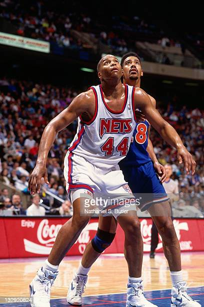 Derrick Coleman of the New Jersey Nets boxes out against the Cleveland Cavaliers circa 1991 at the Brendan Byrne Arena in East Rutherford New Jersey...
