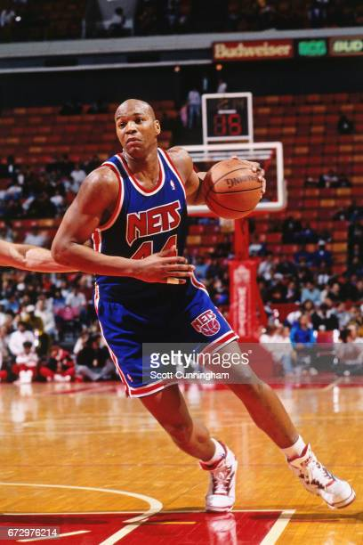Derrick Coleman of the New Jersey Nets dribbles against the Atlanta Hawks during a game played circa 1990 at the Omni in Atlanta Georgia NOTE TO USER...