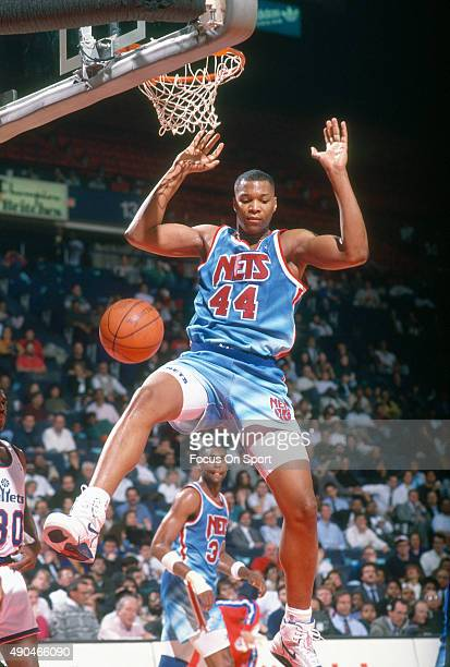 Derrick Coleman of the New Jersey Nets in action against the Washington Bullets during an NBA basketball game circa 1991 at the Capital Centre in...