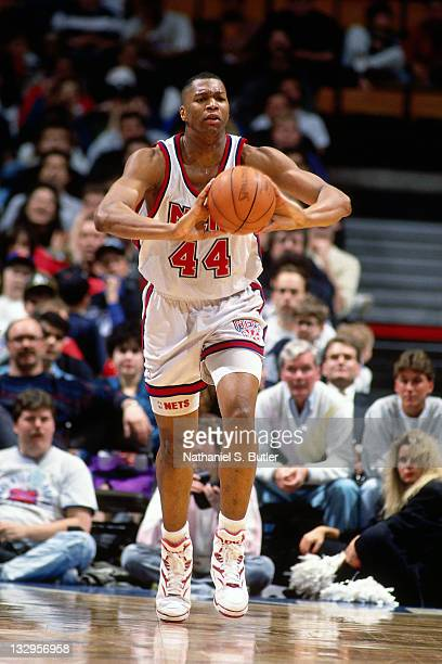 Derrick Coleman of the New Jersey Nets passes circa 1991 at the Brendan Byrne Arena in East Rutherford New Jersey NOTE TO USER User expressly...