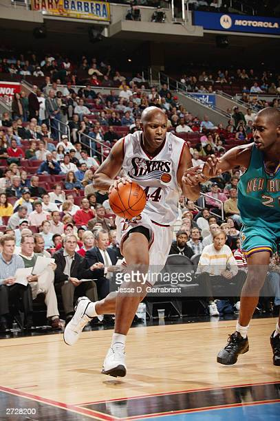 Derrick Coleman of the Philadelphia 76ers drives to the basket during a game at Wachovia Center against the New Orleans Hornets on November 5, 2003...
