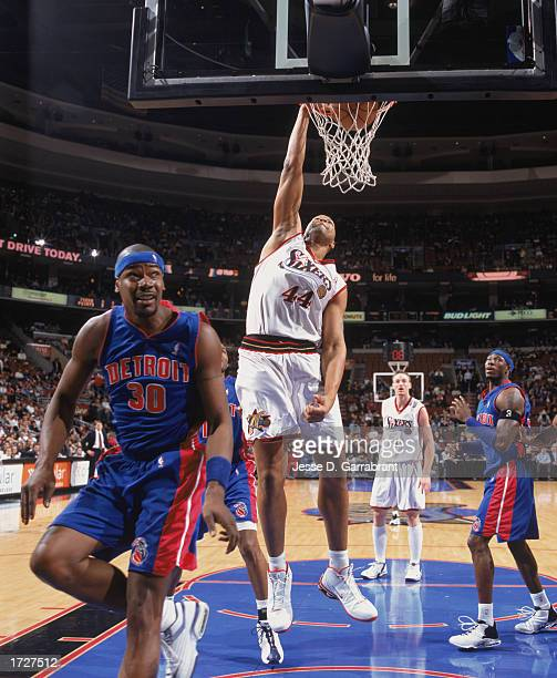 Derrick Coleman of the Philadelphia 76ers dunks during the game against the Detroit Pistons at First Union Center on January 8 2003 in Philadelphia...