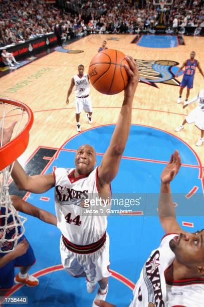 Derrick Coleman of the Philadelphia 76ers grabs a rebound during the NBA game against the New York Knicks at First Union Center on January 10, 2003...
