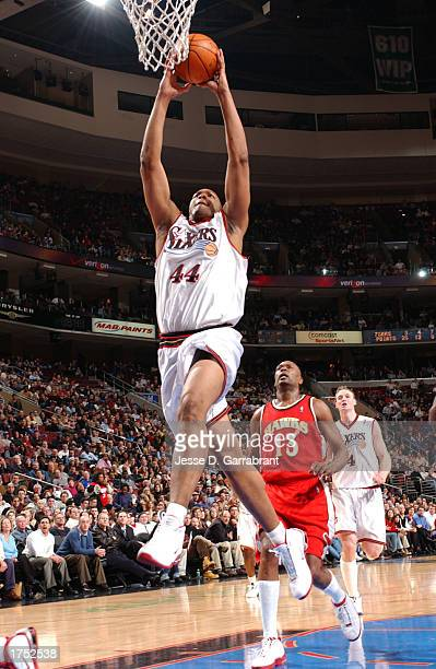 Derrick Coleman of the Philadelphia 76ers shoots against the Atlanta Hawks at the First Union Center on January 29, 2003 in Philadelphia,...