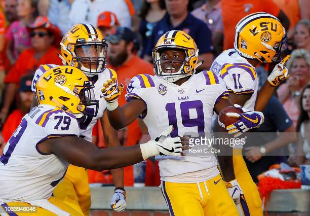 Derrick Dillon of the LSU Tigers reacts after taking a reception in for a touchdown against the Auburn Tigers at JordanHare Stadium on September 15...