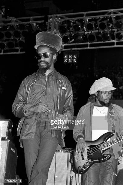 Derrick 'Duckie' Simpson and Robbie Shakespeare performing with Black Uhuru at the Meadowlands in East Rutherford, New Jersey on April 21, 1982.