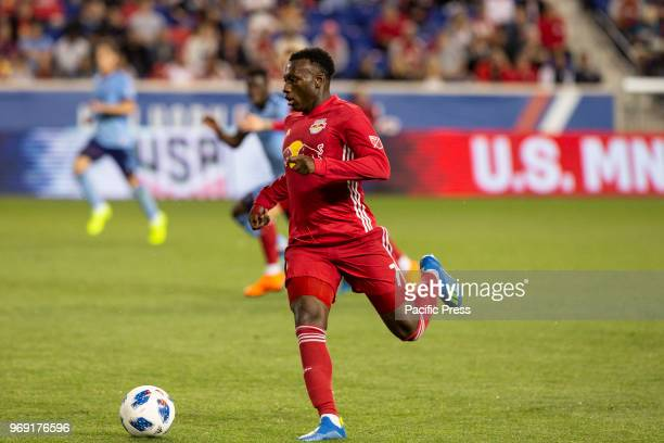 Derrick Etienne Jr of Red Bulls controls ball during 4th round Lamar Hunt US Open Cup game against NYCFC at Red Bull arena Red Bulls won 4 0