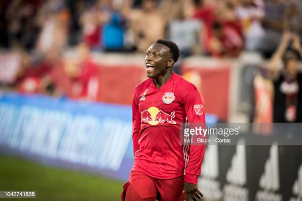 Derrick Etienne of New York Red Bulls celebrates his goal during the 2nd half of the Major League Soccer match between Toronto FC and New York Red...
