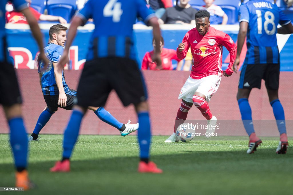 Derrick Etienne #7 of New York Red Bulls in action during the New York Red Bulls Vs Montreal Impact MLS regular season game at Red Bull Arena on April 14, 2018 in Harrison, New Jersey.