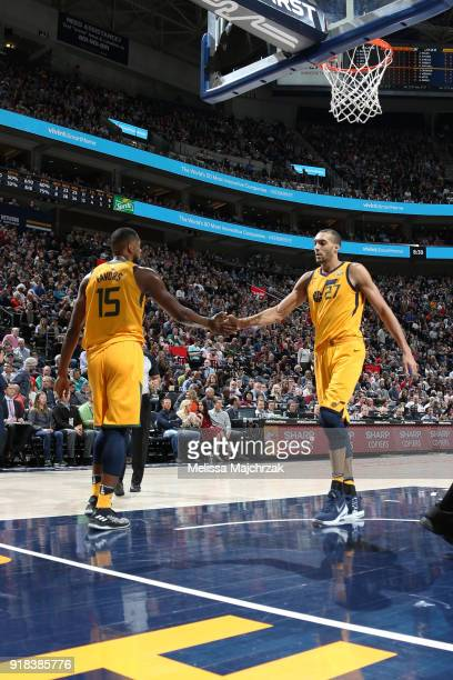 Derrick Favors and Rudy Gobert of the Utah Jazz during the game against the Phoenix Suns on February 14 2018 at Vivint Smart Home Arena in Salt Lake...