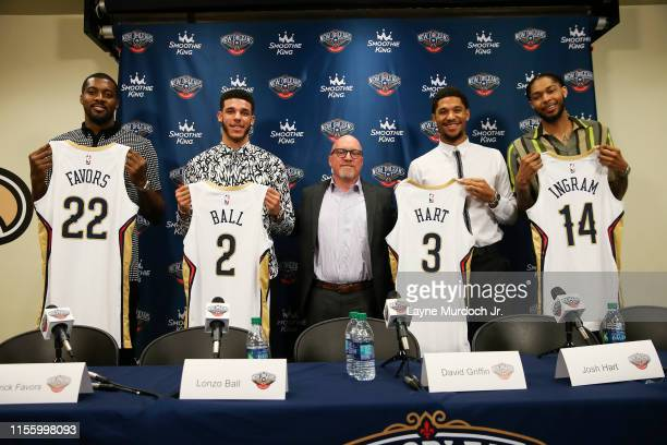 Derrick Favors Lonzo Ball David Griffin Josh Hart and Brandon Ingram of the New Orleans Pelicans pose for a photo at the introductory press...