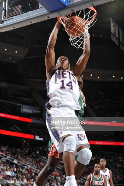 Derrick Favors of the New Jersey Nets dunks against the Milwaukee Bucks during the game on January 8 2011 at the Prudential Center in Newark New...