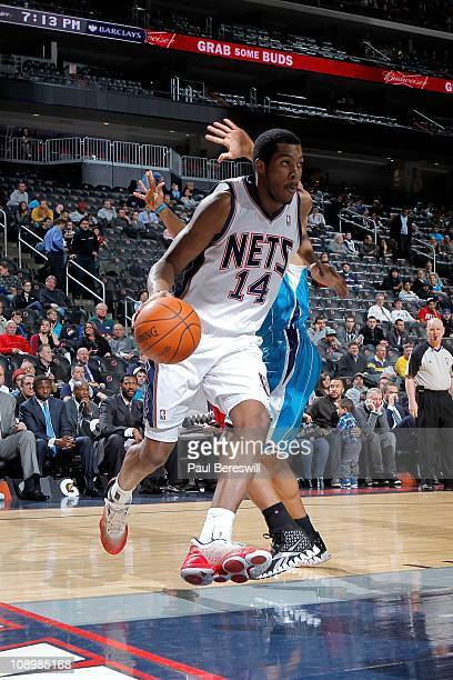 Derrick Favors of the New Jersey Nets moves the ball against the New Orleans Hornets on February 9 2011 at the Prudential Center in Newark New Jersey...