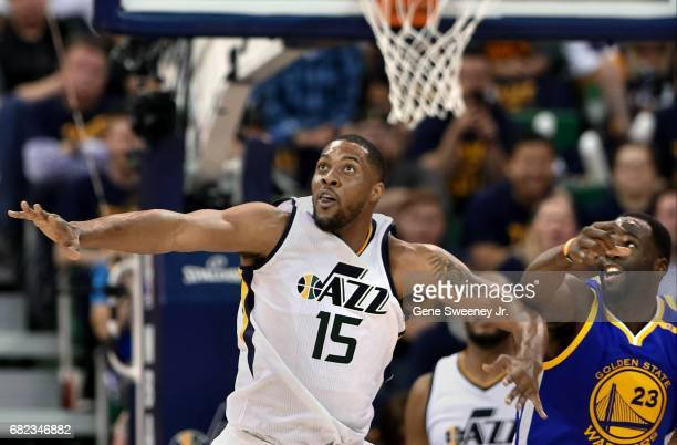 Derrick Favors of the Utah Jazz and Draymond Green of the Golden State Warriors look for the rebound during Game Four of the Western Conference...