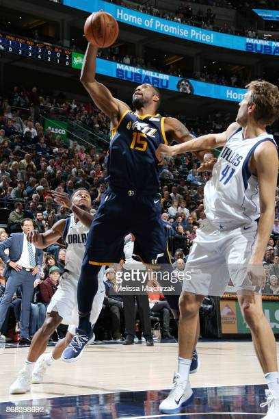 Derrick Favors of the Utah Jazz drives to the basket against the Dallas Mavericks on October 30 2017 at Vivint Smart Home Arena in Salt Lake City...