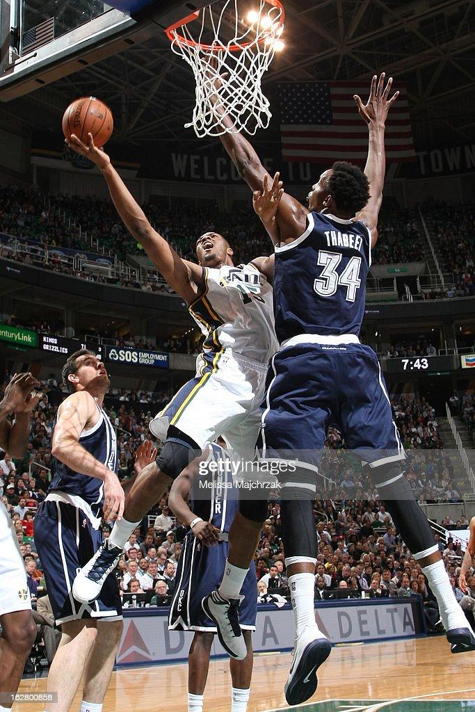 Derrick Favors #15 of the Utah Jazz drives to the basket against the Oklahoma City Thunder on February 12, 2013 in Salt Lake City, Utah.