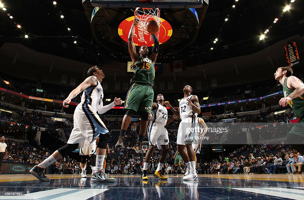 Derrick Favors #15 of the Utah Jazz dunks against the Memphis Grizzlies on December 23, 2013 at FedExForum in Memphis, Tennessee.
