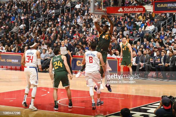 Derrick Favors of the Utah Jazz dunks the ball against the LA Clippers on January 16 2019 at STAPLES Center in Los Angeles California NOTE TO USER...