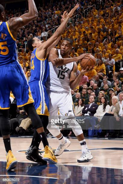 Derrick Favors of the Utah Jazz goes to the basket against the Golden State Warriors during Game Four of the Western Conference Semifinals of the...