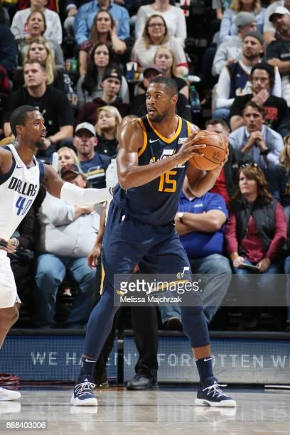 Derrick Favors of the Utah Jazz handles the ball against the Dallas Mavericks on October 30 2017 at Vivint Smart Home Arena in Salt Lake City Utah...