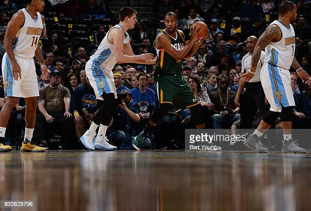 Derrick Favors of the Utah Jazz handles the ball against the Denver Nuggets on January 24 2017 at the Pepsi Center in Denver Colorado NOTE TO USER...
