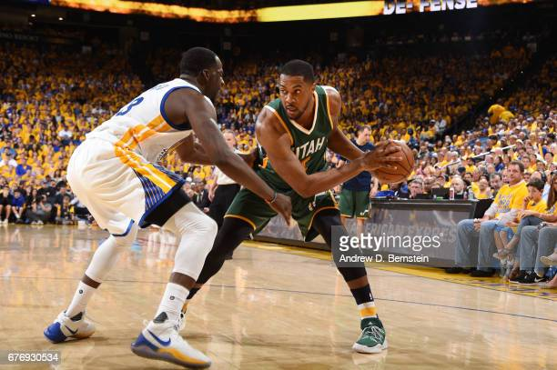 Derrick Favors of the Utah Jazz handles the ball against the Golden State Warriors during Game One of the Western Conference Semifinals of the 2017...
