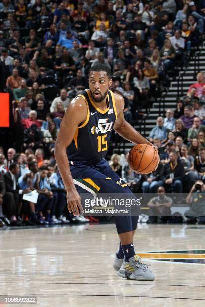 Derrick Favors of the Utah Jazz handles the ball against the Memphis Grizzlies on November 2 2018 at Vivint Smart Home Arena in Salt Lake City Utah...