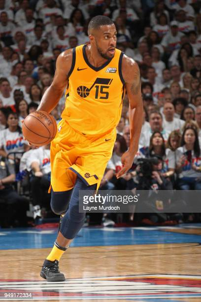 Derrick Favors of the Utah Jazz handles the ball against the Oklahoma City Thunder in Game Two of Round One of the 2018 NBA Playoffs on April 18 2018...