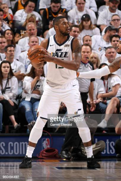 Derrick Favors of the Utah Jazz handles the ball against the Oklahoma City Thunder in Game Four of Round One of the 2018 NBA Playoffs on April 23...