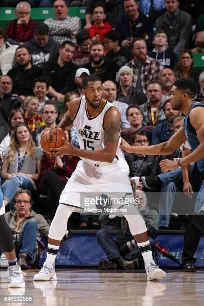 Derrick Favors of the Utah Jazz handles the ball against the Minnesota Timberwolves on March 1 2017 at vivintSmartHome Arena in Salt Lake City Utah...