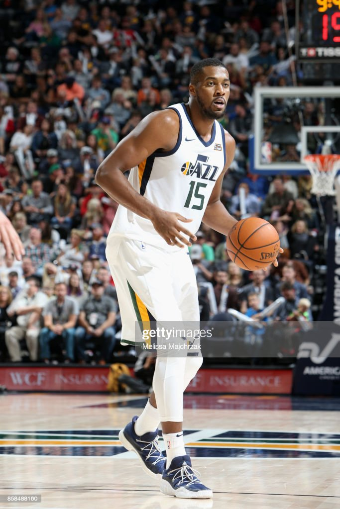 Derrick Favors #15 of the Utah Jazz handles the ball against the Phoenix Suns on October 6, 2017 at vivint.SmartHome Arena in Salt Lake City, Utah.