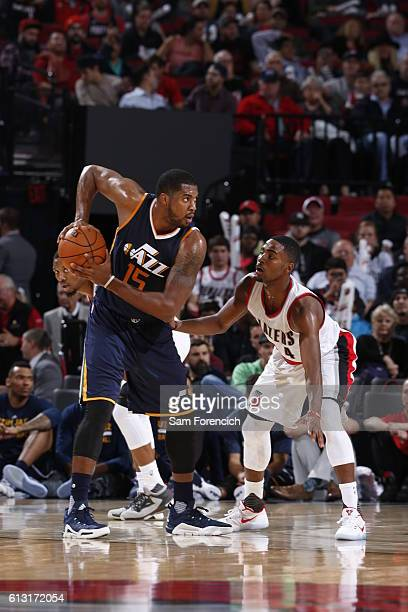 Derrick Favors of the Utah Jazz handles the ball against the Portland Trail Blazers on October 3 2016 at the Moda Center Arena in Portland Oregon...