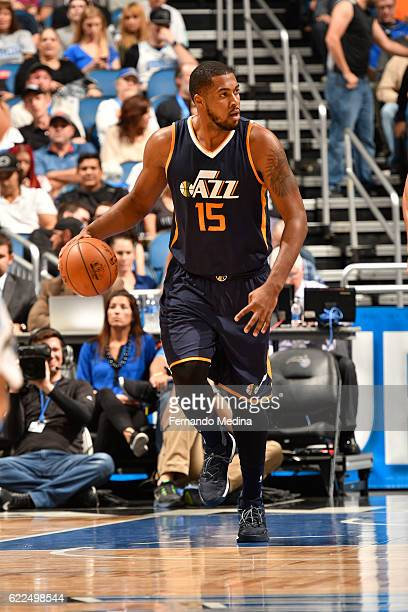 Derrick Favors of the Utah Jazz handles the ball during a game against the Orlando Magic on November 11 2016 at the Amway Center in Orlando Florida...