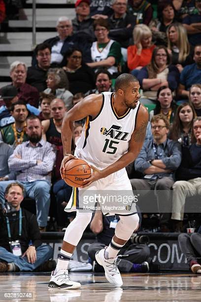 Derrick Favors of the Utah Jazz handles the ball during a game against the Los Angeles Lakers on January 26 2017 at vivintSmartHome Arena in Salt...